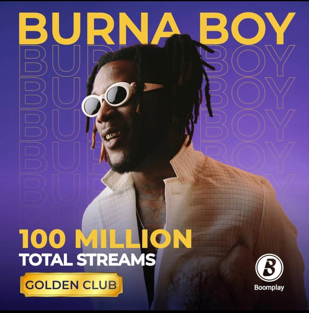 Burnaboy Makes History As The First Artiste To Hit 100 Million Streams on Boomplay.